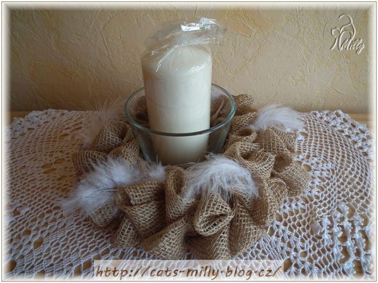 burlap, candlestick, feathers