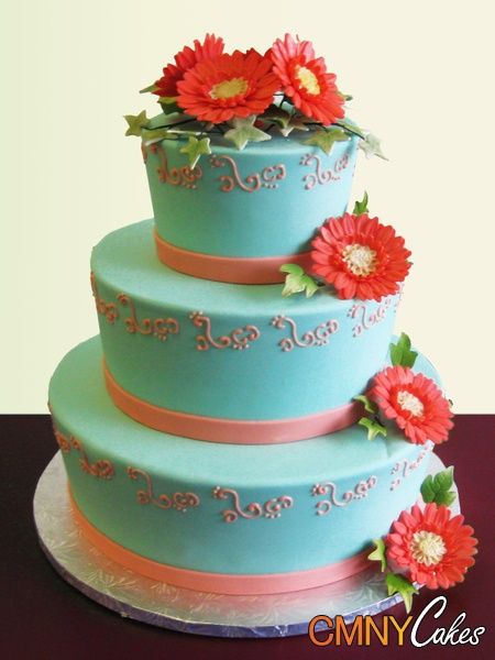 Deep Orange Sunflowers on Aqua Wedding Cake
