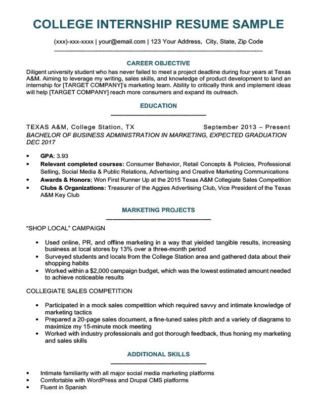 College Student Resume Sample Writing Tips Resume Companion Best