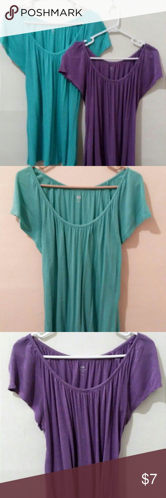 Flowing Blouse Scoop Neck - 100% rayon - Short-sleeved  1 available in colors shown (purple, aqua blue) Apt. 9 Tops Blouses