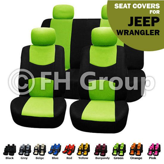 Green & Black Flat Cloth Auto Seat Covers Full Set for Jeep Wrangler