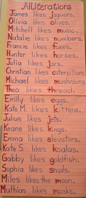 A Place Called Kindergarten: Writing Workshop - Alliterations