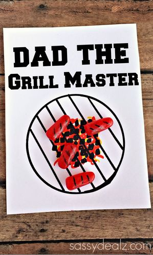 Grill Master Father's Day Card Using Mike & Ikes - Great card idea for kids to make! #hotdogs