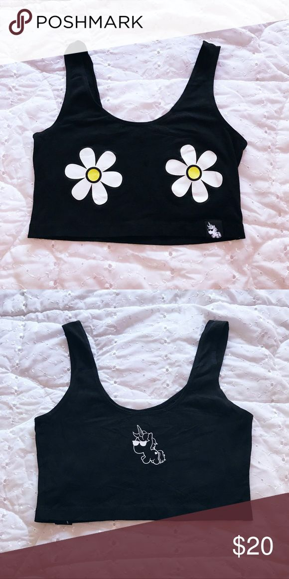 "Daisy Tank Top fun daisy fitted crop top  wore once; daisies have a bit of wear but still in excellent condition  approx; length 12"", bust 26"" some stretch iheartraves Tops Crop Tops"