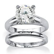 3-Carat Round Cubic Zirconia Platinum over Sterling Silver Solitaire Bridal Engagement Set at PalmBeach Jewelry