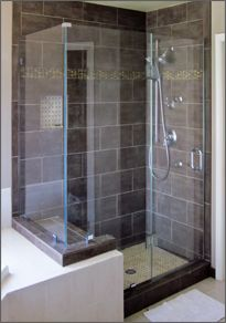 Glass shower enclosure - we could take down the wall between the shower and tub.