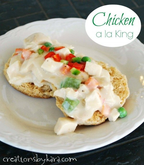 Chicken a la King with fluffy homemade biscuits. No canned soup needed! -from creationsbykara.com #chicken #recipe
