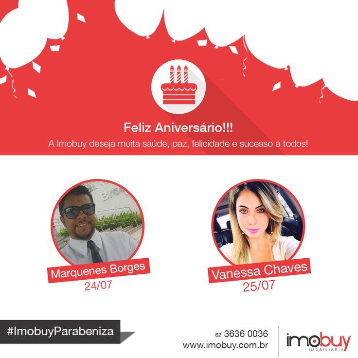 Feliz aniversário aos nossos corretores Marquenes Borges e Vanessa Chaves. Desejamos muita saúde, sucesso e paz! E que comemoremos juntos essa data por muitos anos. Um abraço da família Imobuy! #ImobuyParabeniza