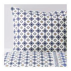 IKEA - SOMMAR 2017, Navlaka i jastučnica, , Mješavina poliesterskog i pamučnog vlakna lako se održava jer se tkanina manje gužva i skuplja.Skriveni drukeri drže poplun na mjestu.