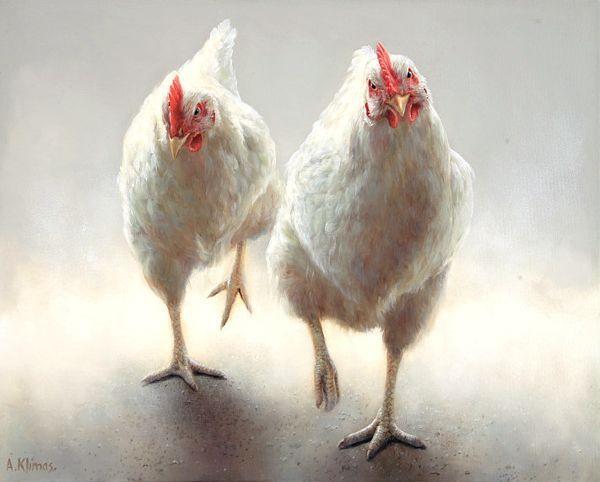 Sold | Miep Miep the Chicken, oil/canvas 16 x 20 inch (40 x 50 cm) © 2012 Klimas