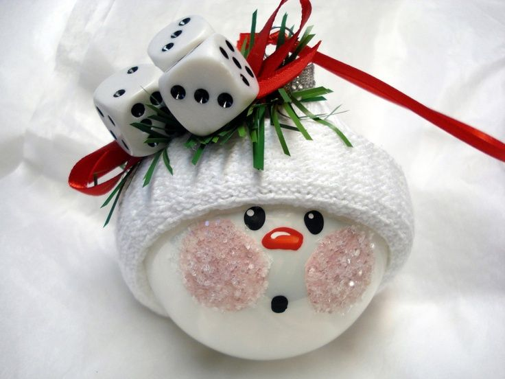 Craft Glass Ornament Ideas   Snowman ornament.   Craft Ideas (minus the dice)