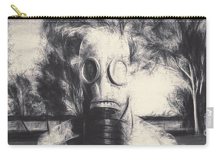 Gas Carry-all Pouch featuring the photograph Vintage Gas Mask Terror by Jorgo Photography - Wall Art Gallery