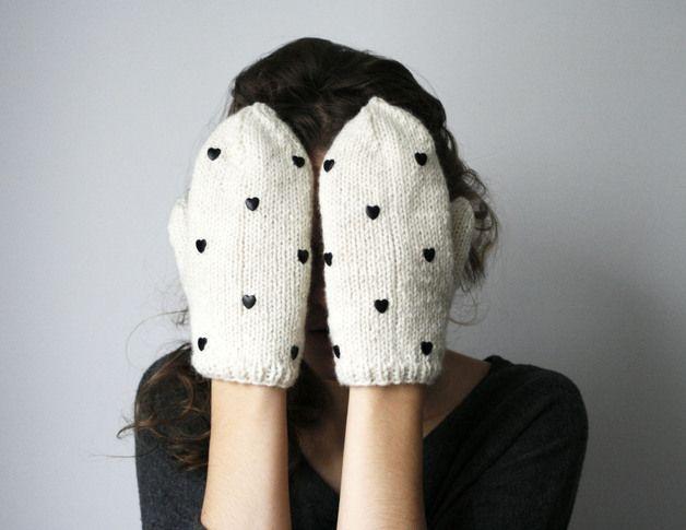 via en.dawanda.com Gloves – handmade cute white ivory wool color mittens with – a unique product by Elina-AIY on DaWanda