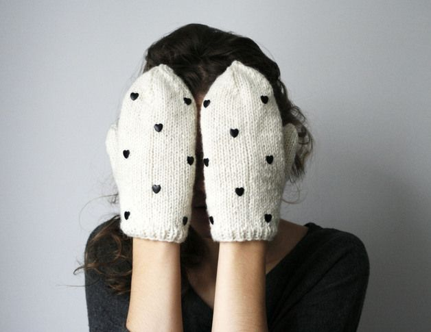via en.dawanda.com Gloves – handmade cute white ivory wool color mittens with – a unique product by Elina-AIY on DaWanda
