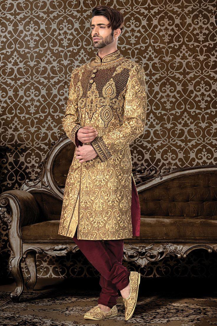 Buy Wedding Sherwani-Gold-Zardosi Work Online