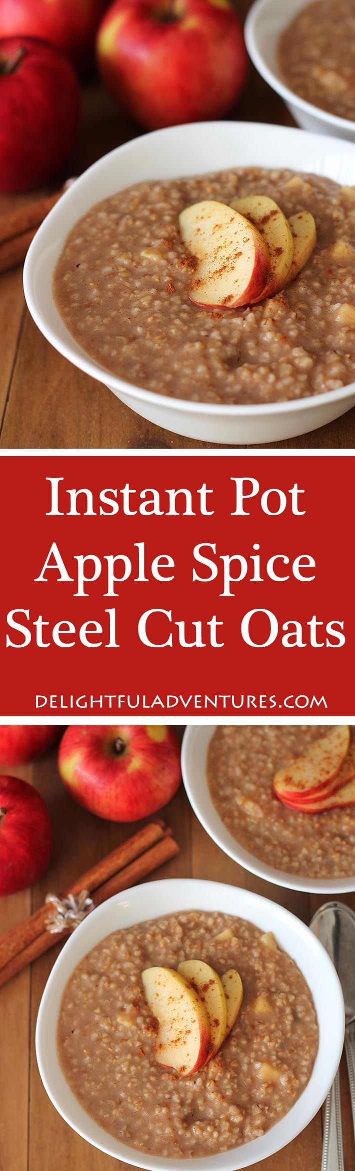 Apple Spice Instant Pot Steel Cut Oats make the perfect easy, warm, and delicious breakfast for cold days. #instantpot #pressurecooker #steelcutoats #veganglutenfree #glutenfreevegan #veganbreakfast #glutenfreebreakfast via @delighfuladv