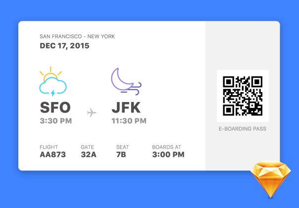 E-boarding pass concept with a fun interface. Crafted by <a href=https://dribbble.com/shots/2373082-E-Boarding-Pass>Jardson Almeida</a>.
