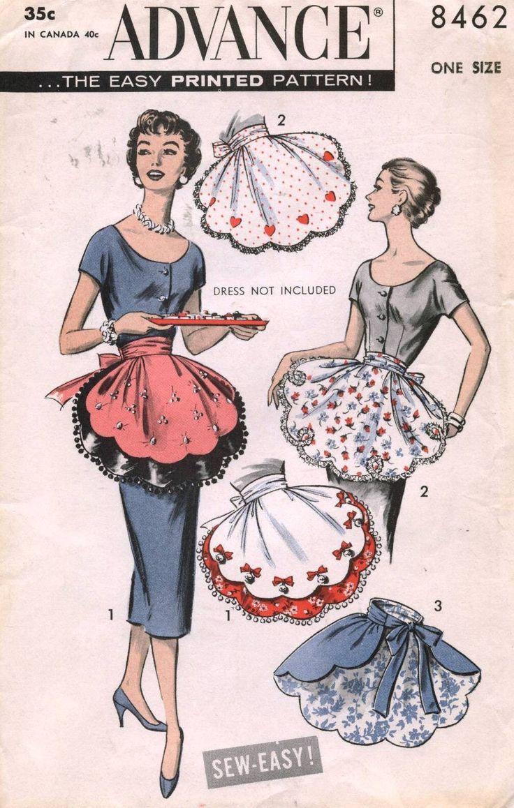 White half apron ebay - 1950 S Vtg Advance Misses Half Apron Pattern 8462 Ebay
