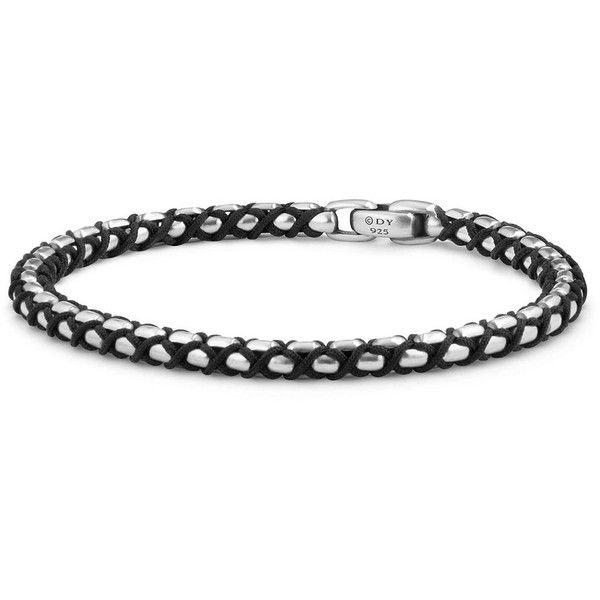 David Yurman Woven Box Chain Bracelet in Black (19.825 RUB) ❤ liked on Polyvore featuring men's fashion, men's jewelry, men's bracelets, mens leather braided bracelets, mens woven bracelets, mens silver bracelets and david yurman mens bracelets