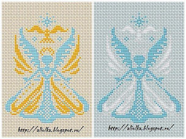 Рождественская вышивка: ангел крестом. Схема от Aliola