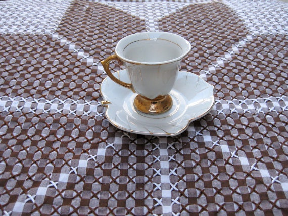 vintage gingham embroidery nordic star tablecloth