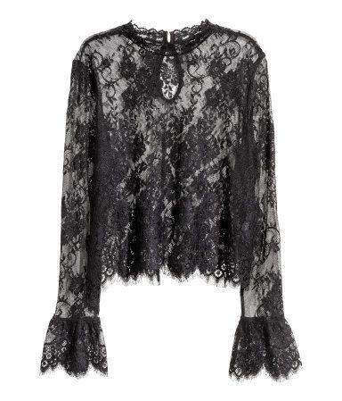 Kanten blouse | Zwart | Dames | H&M NL