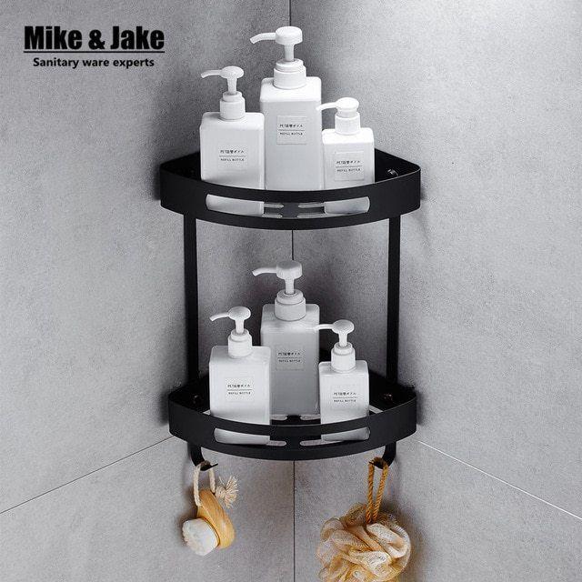 Corner Shelf Shower Glass Stainless Steel 304 Black Bathroom