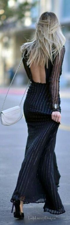 #street #style #womens #fashion #spring #outfitideas | Squared Open Back Maxi Black Dress