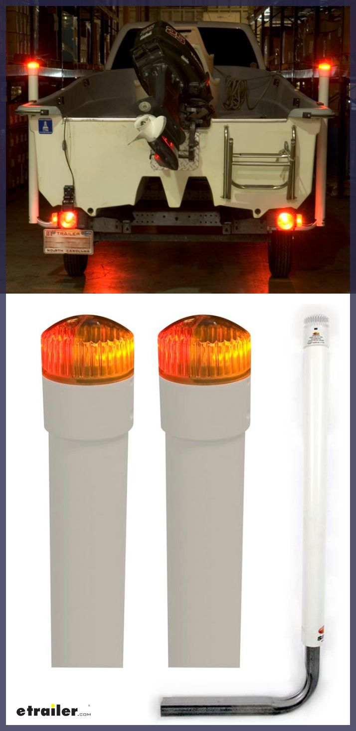Get better visibility of your boat trailer with these Post-Style Guide-Ons with LED Lights for Boat Trailers.  The built-in LED lights on the posts stand out at night, making it easier for you to load your boat in the dark and for other drivers to see your trailer when you're on the road.