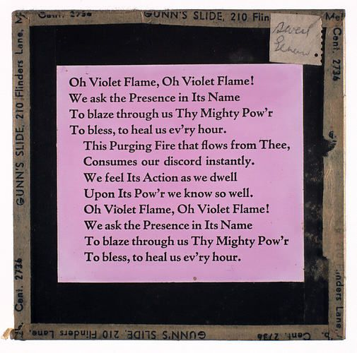 Lantern Slide - Universal Opportunity League, 'Oh Violet Flame'