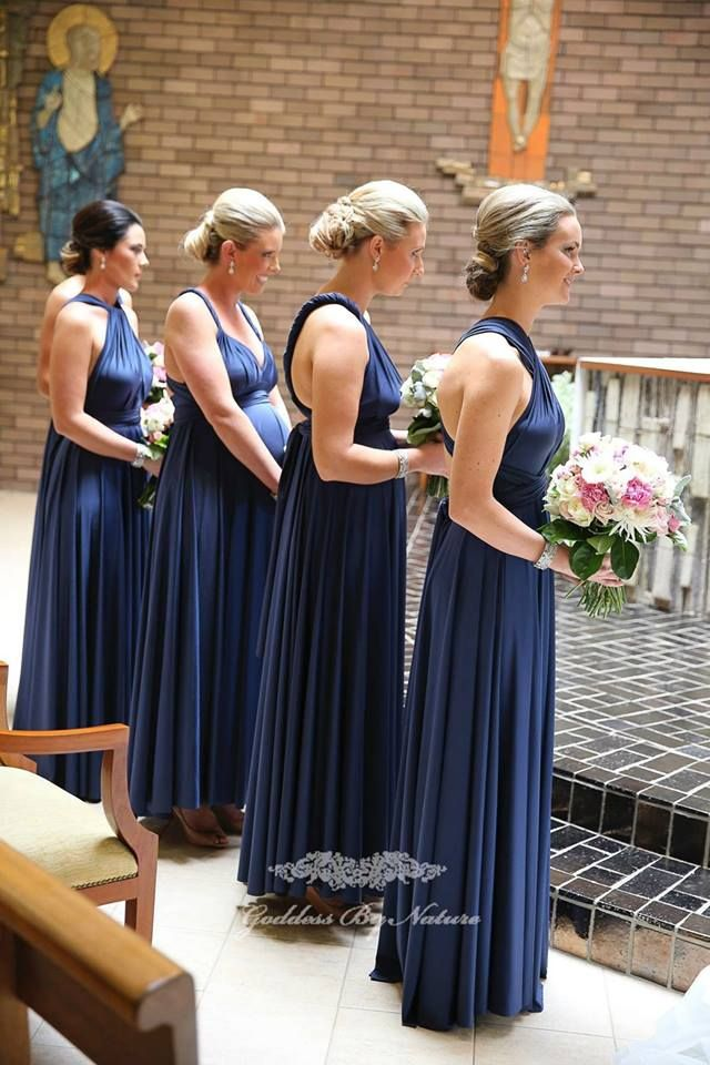Katie's bridesmaids looking amazing in their Goddess By Nature Signature Ballgown in Nautical Navy colour, flattering all body types & shapes & perfect for her pregnant bridesmaid too.