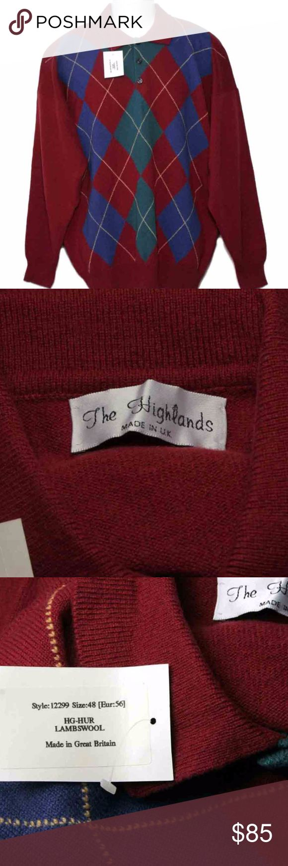 Mens The Highlands Scottish Wool Sweater Size XXL Brand new (with tags) The Highlands Scottish lambswool sweater The size is USA 2XL with 38 inch sleeves, or Euro 56 The fabric is 100% Scottish lambswool and the style collared button top pullover. The bottom of the sweater is ribbed. The base color is red, and the sweater has solid blue, red, and green diamonds. Gold lines form a diamond pattern over the solid colored diamonds. This sweater was made in the United Kingdom. 3 button top. The…