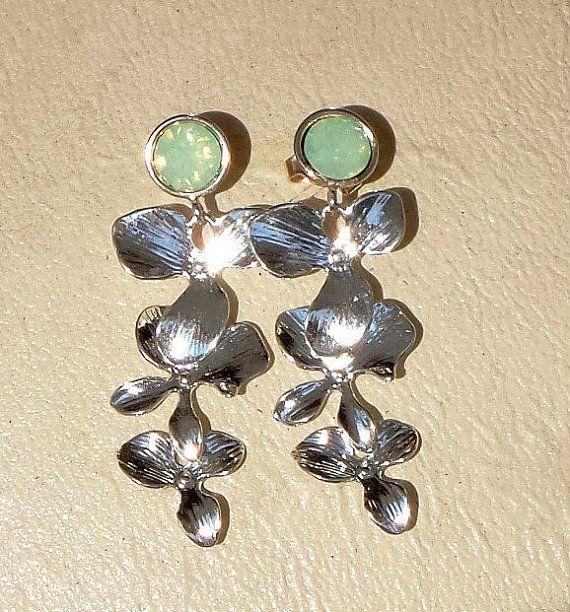 Swarovski crystal light green opal stud and by CrystallizedByLena