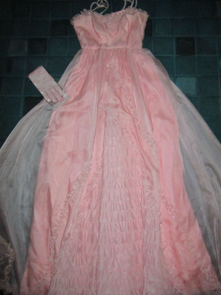 Civil War Victorian light pink ruffled dress ball gown COSTUME size 4 gloves   Clothing, Shoes & Accessories, Costumes, Reenactment, Theater, Costumes   eBay!