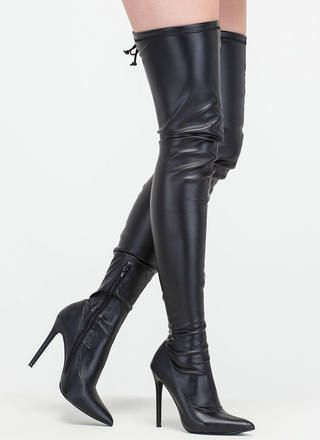 f3e576c70c8 Crush Hard Faux Leather Thigh-High Boots
