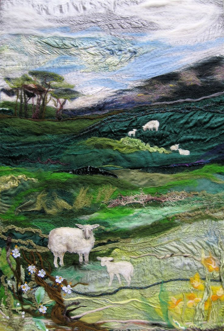 gorgeous art quilt with sheep in landscape  m-harvey-mixed-media-textile-lancs.jpg (2338×3448)