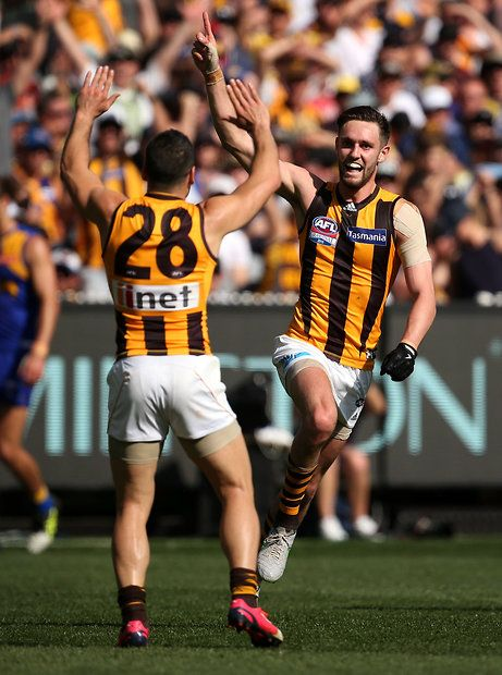 2015 Toyota AFL Grand Final - Hawthorn v West Coast - Jack Gunston of the Hawks celebrates a goal
