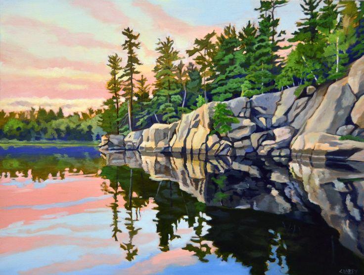 Dusk, Gut Lake by Anna Clarey, Acrylic on Canvas, Painting   Koyman Galleries