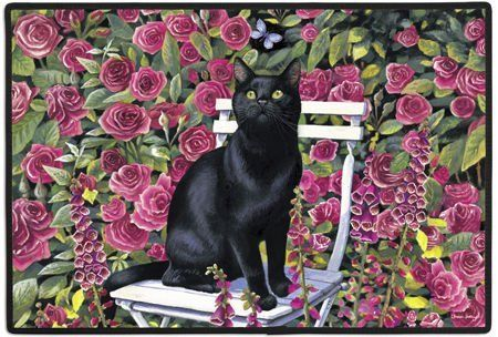 "Black Cat in the Rose Garden Felines Kittens Doormat Rug Mat by Fiddler's Elbow. $19.99. Chrissie Snelling. Permanently dye printed & fade resistant. Made in the USA. Size: 27"" x 18"". Non-skid rubber backing,. 100% Polyester face, permanently dye printed & fade resistant, non-skid rubber backing, durable polypropylene web trim."