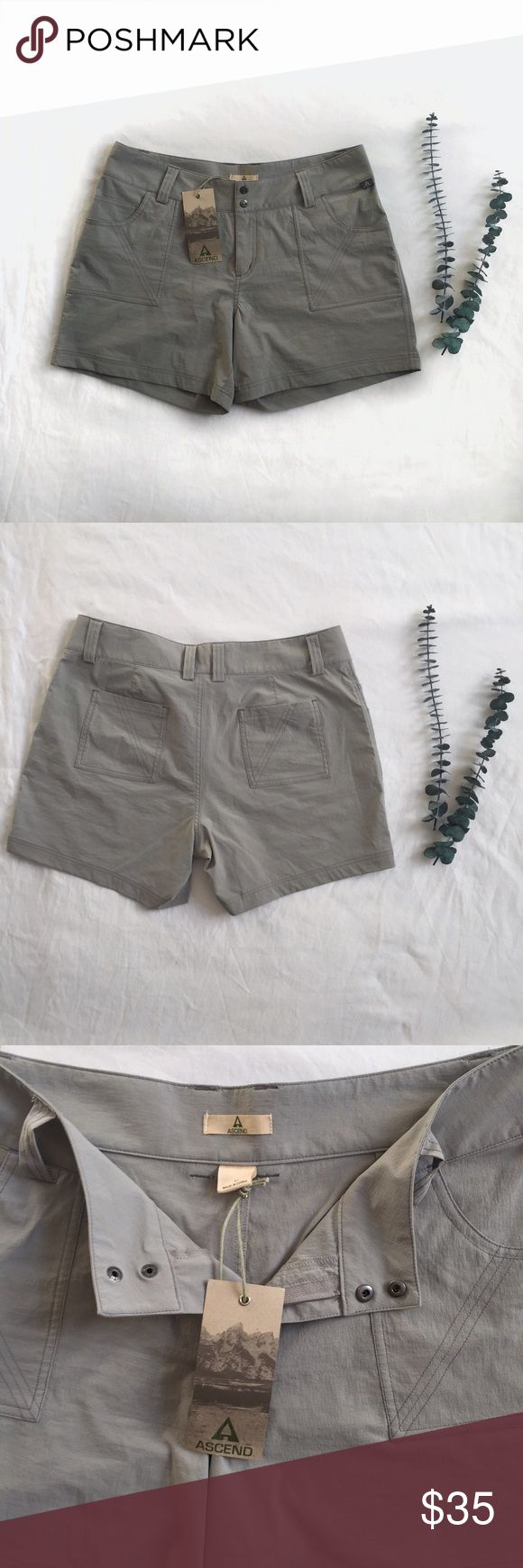 Ascend Hiking Shorts  HP  These hiking shorts are NWT and are in perfect unused condition. They fall mid thigh and are water proof. They have several pockets and are a lovely neutral gray color. Perfect for any adventures you have in mind. They got true to size.   Open to offers & no trades  Smoke & pet free home 25% off 2 or more items ascend Shorts
