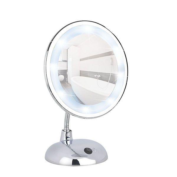 Led Kosmetikspiegel Style Chrom Standspiegel 3 Fach Vergrosserung Silber Wenko Led Badspiegel Led Kosmetikspiegel