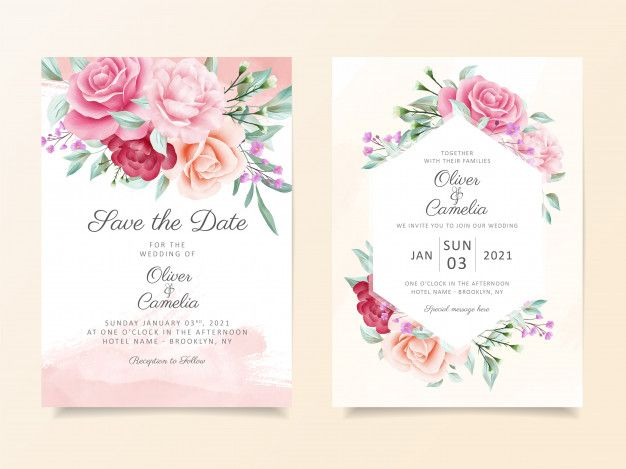 Elegant Botanic Wedding Invitation Card Template Set With Soft Watercolor Flowers Decoration Wedding Invitation Cards Elegant Wedding Invitation Card Floral Wedding Invitation Card