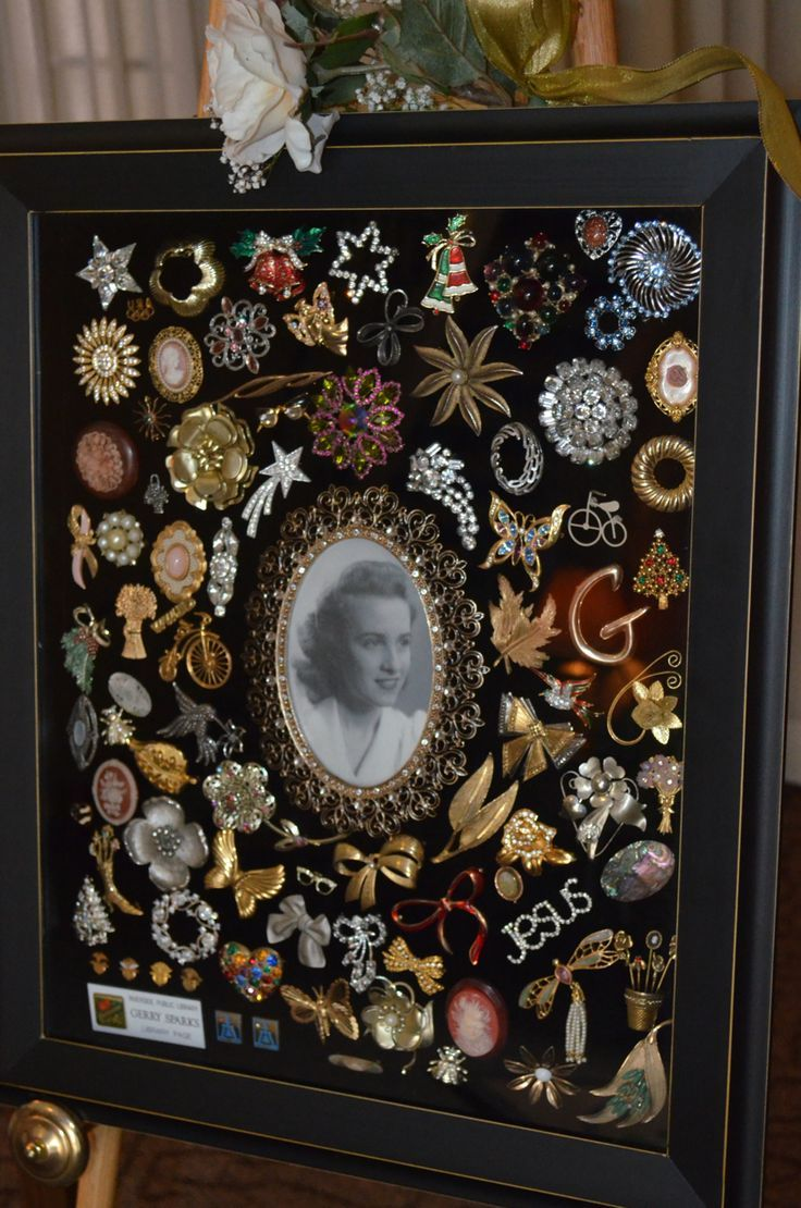 I created this shadow box using my mother's collection of brooches. It was placed on display at her memorial service. It was heart-warming to see her old friends point to a particular pin and remember her wearing it, or better yet, they remembered giving it to her.: