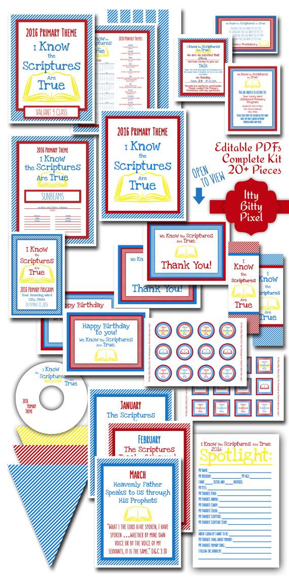 Kit LDS Primary 2016 Theme PRINTABLE I Know The by IttyBittyPixel