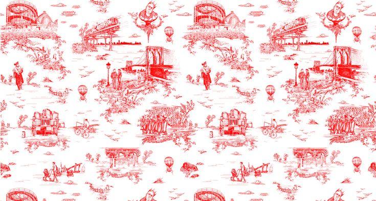 Brooklyn-Toile by flavor paperInterior Design, Inspiration Wallpapers, Brooklyn Toile, Toile Wallpapers, New York, Beastie Boys, Upholstery Fabrics, Bathroom Wallpapers, Wallpapers Design