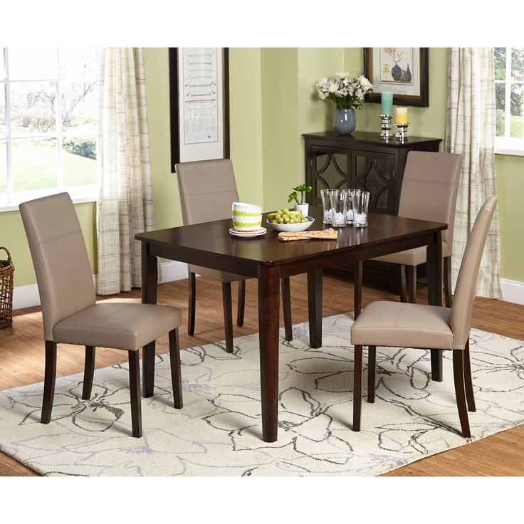 Simple Living Riverplace Espresso Brown And Leatherette Wrapped Dining Set