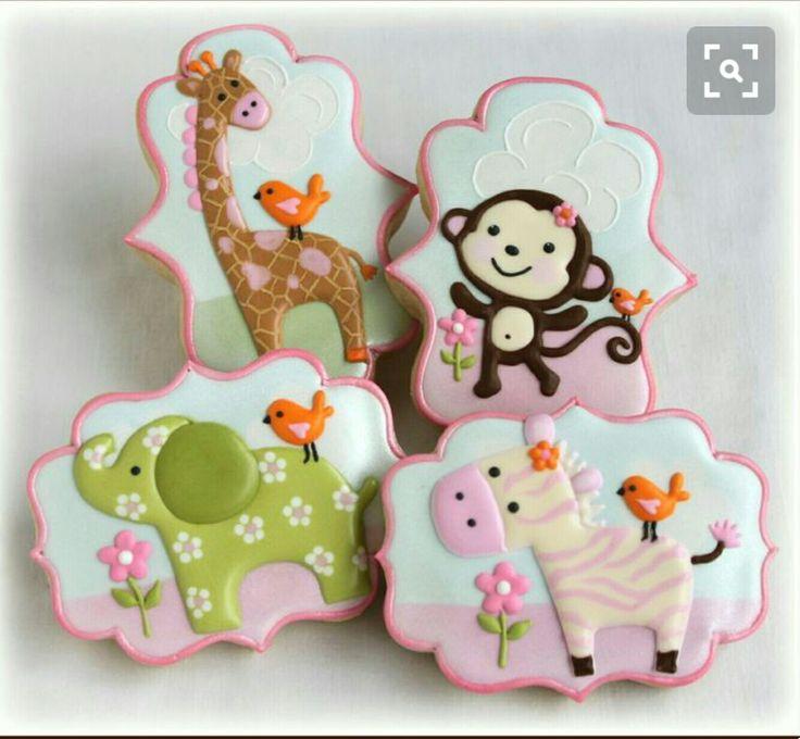 Adorable animal cookies giraffe monkey elephant zebra