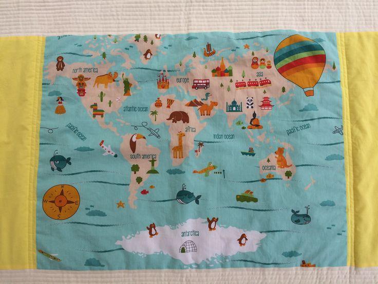 #Edredom #Berço ou Mini-cama - Mapa Mundi em tecido 100% algodão. Perfeito para…