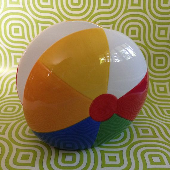 Vintage ceramic napkin holder shaped like a beach ball