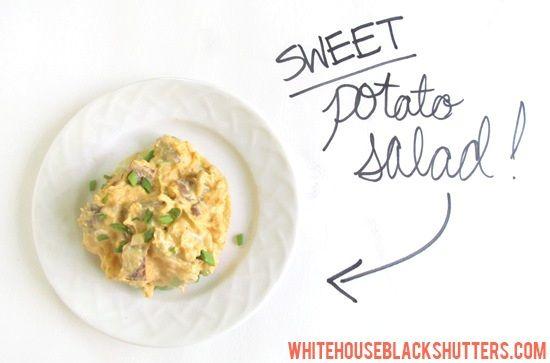 sweet potato potato salad: Potatoes Potatoes Salad, Eating Salad, Potato Salad, Greek, Sweet Salad, Summer Gatherings, Food Salad, Food Drinks, Sweet Potatoes Salad